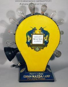 Edison Mazda light bulb display, ca. 1925
