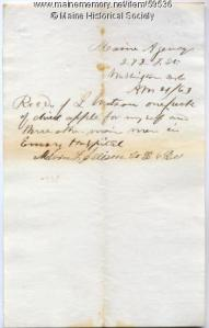 Receipt for apples for wounded soldiers, 1863
