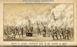 Death of Father Sebastian Rale, 1724. (From an 1856 engraving.) MMN #7530.