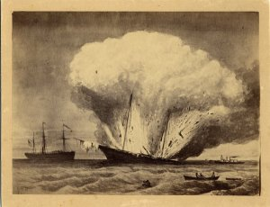 Destruction of the Caleb Cushing, 1863.
