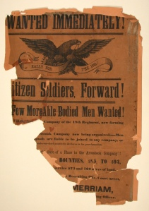 18th Regiment recruiting poster, Aroostook County, 1862. MMN #16119.