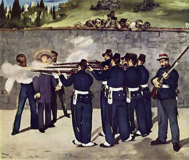 Manet's The Execution of Emperor Maximillian. For more on the series of paintings Manet did on the subject, visit http://www.moma.org/interactives/exhibitions/2006/Manet/.
