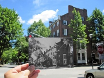 "Park Street Block, Portland, 1962. ""The block of houses between Spring and Gray streets was built in 1835 and was the largest residence row complex of its period in the state."" Present: 2014 with a few more trees!"