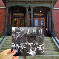 "30-32 Deering Street, Portland, August 26, 1902. ""An excited crowd watches as President Theodore Roosevelt is greeted by former Speaker of the U.S. House of Representatives Thomas Brackett Reed outside his home in Portland."" Present: June 15, 2014"