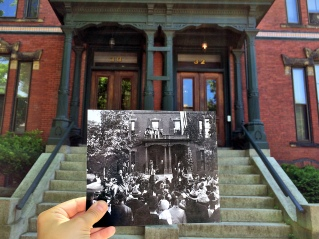 """30-32 Deering Street, Portland, August 26, 1902. """"An excited crowd watches as President Theodore Roosevelt is greeted by former Speaker of the U.S. House of Representatives Thomas Brackett Reed outside his home in Portland."""" Present: June 15, 2014"""