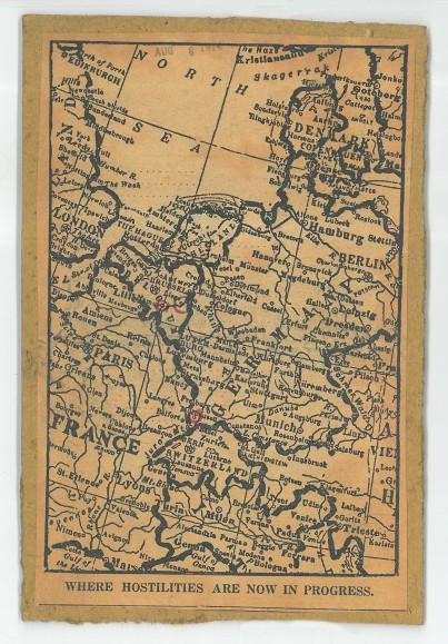 "European Map ""Where Hostilities Are Now In Progress"" ca. 1914"