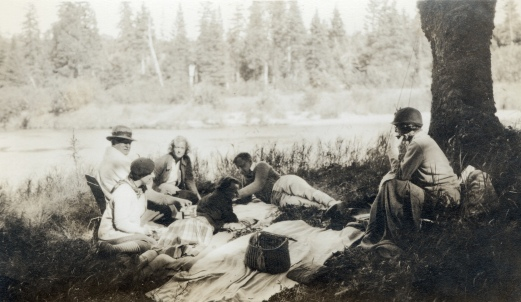 Teresa Colt (Mrs. Harris D. Colt Jr.) and friends relax at the Parmachenee Club on Camp Caribou on Treat's Island on Parmachenee Lake, ca. 1940. MMN# 19384