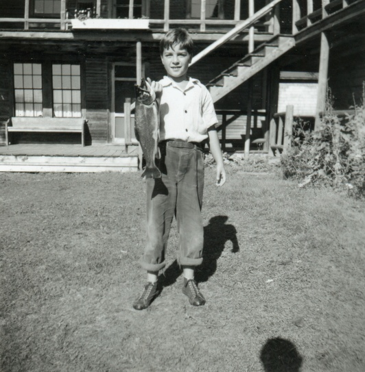 Harris S. Colt, grandson of longtime Parmachenee Club member Harris D. Colt, at the private hunting-fishing camp on Caribou Island on Parmachenee Lake. MMN# 19386