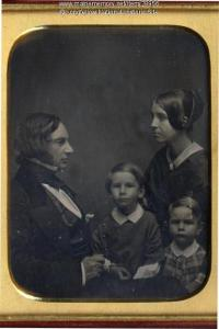 1849: Henry W. Longfellow (1807-1882) and Frances Appleton Longfellow (1819-1861) with their two eldest children, Charles Appleton Longfellow (1844-1893) and Ernest Wadsworth Longfellow (1845-1921).