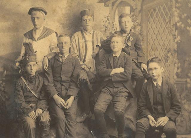 Coll. 2781 Johnson family - Edward Johnson Jr. son of Edward Sr. in group photograph 1891 1st from left in back row Box 17 Folder 5
