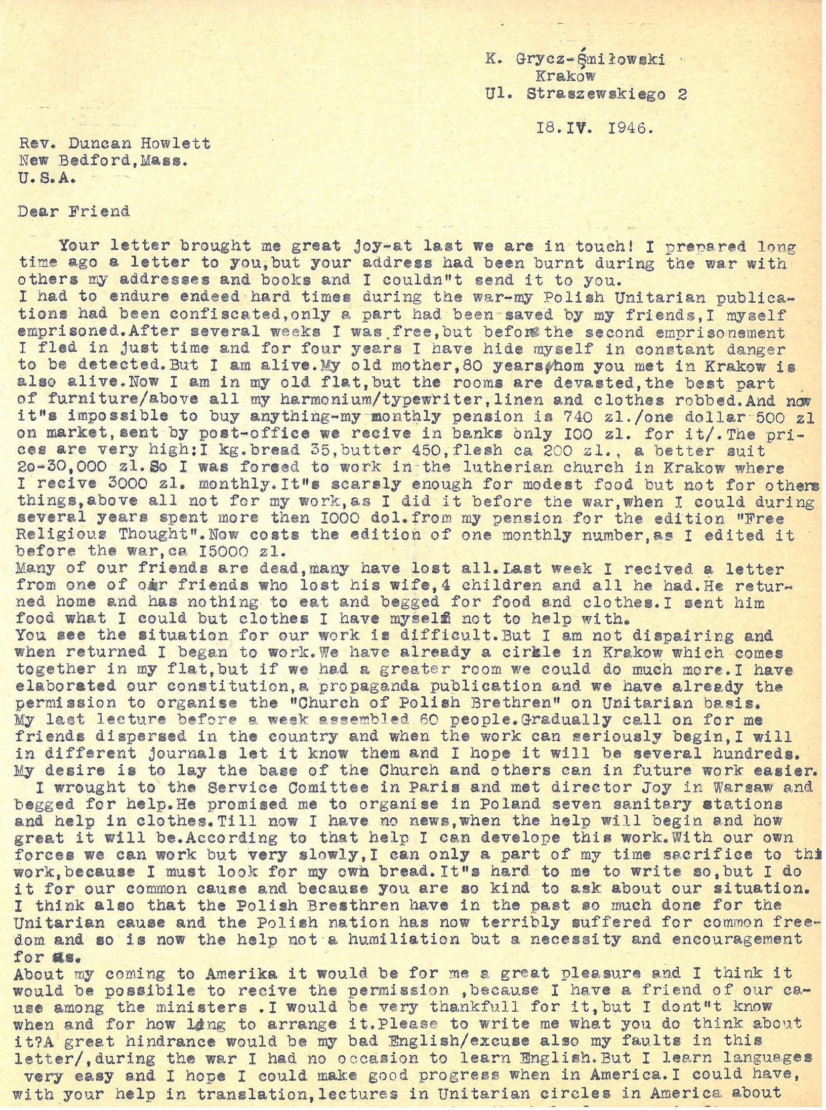 Coll. 2993 Duncan Howlett letter from Karol Grycz-Smilowski