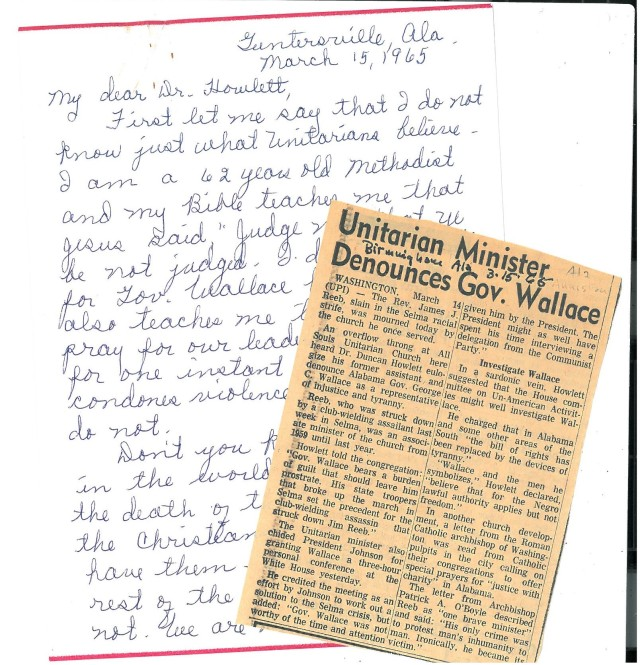 Coll. 2993 Duncan Howlett papers Wallace letter and clipping
